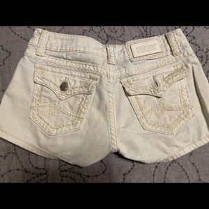 White miss me shorts